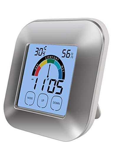 E-HOME Digitales Thermo-Hygrometer Thermometer & Hygrometer mit Touchscreen für Zuhause und Büro Temperaturmesser und Luftfeuchtigkeit Überwachung + Uhr Funktion mit großem Display und Klappständer