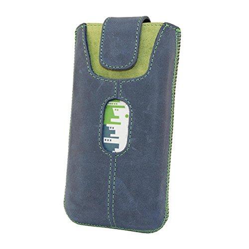 Etui Handy Tasche Apple Iphone 7 PLUS 5,5 Zoll Echt Leder Case Cover Hülle Handysocken Lederetui Leder socken mit Magnetverschluss Dark Braun/Braun Handarbeit Blau/Grün