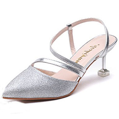 LvYuan Da donna Sandali PU (Poliuretano) Primavera Estate A stiletto Oro Argento 7,5 - 9,5 cm Silver