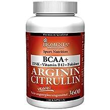 L ARGININA CITRULLIN 3600 mg Alta dosis + BCAA 1000 mg + Cinc, Vitamina B, ácido fólico - 150 Cápsulas - 1 Cura de meses