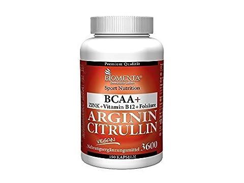 Biomenta L-ARGININ + CITRULLIN | VEGAN | 3.000 mg L-ARGININ BASE + 620 mg CITRULLIN MALAT + 1.000 mg BCAA + ZINK + FOLSÄURE + VITAMIN B6 + VITAMIN B12 | 150 L-Arginin-Base-Kapseln
