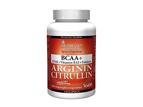 Biomenta l-arginina + citrullina vegana 3.000 mg l-arginina base + 620 mg l-citrullina + 1.000 mg bcaa + zinco senza trennmittel 150 l-arginina-capsule