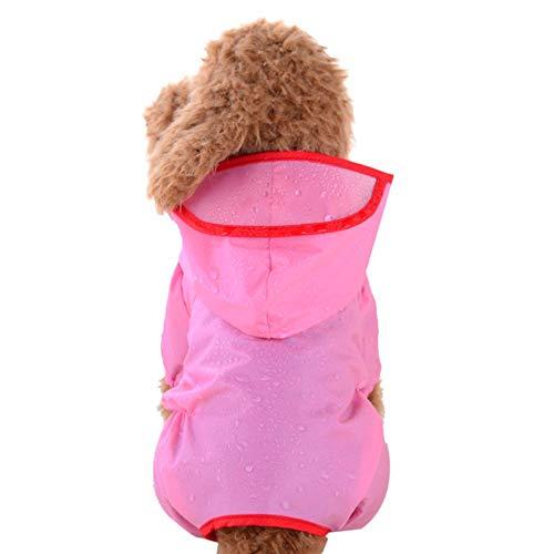 YWLINK Haustier Hund Puppy Katze Regenbekleidung Mit Kapuze Poncho Regenmantel Wasserfeste Jacke Volltonfarbe Kleider(Rosa,XL)