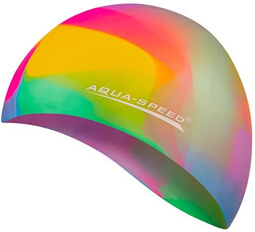 Aqua Speed® Set - BUNT Badekappe + Kleines Mikrofaser Handtuch | Silikon | Bademütze | Badehaube | Schwimmhaube | Erwachsene | Damen | Herren | Kinder, Kappen Designs:61. Bunt / 54