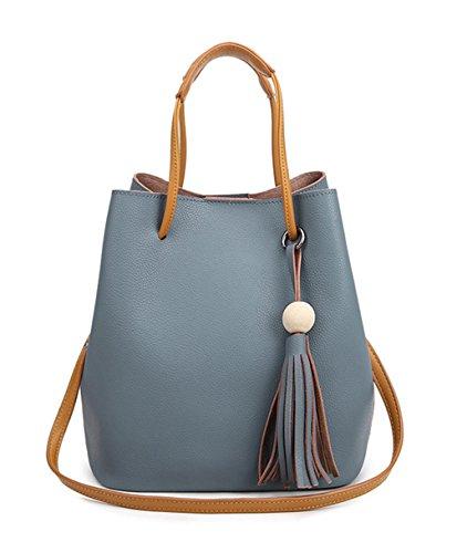 Keshi Leder Cool Damen Handtaschen, Hobo-Bags, Schultertaschen, Beutel, Beuteltaschen, Trend-Bags, Velours, Veloursleder, Wildleder, Tasche See blau