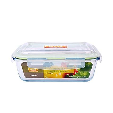 Hitzebeständige Glas Lunch Boxes Rechteck Crisper Mikrowelle Ofen Glasschale Kühlschrank