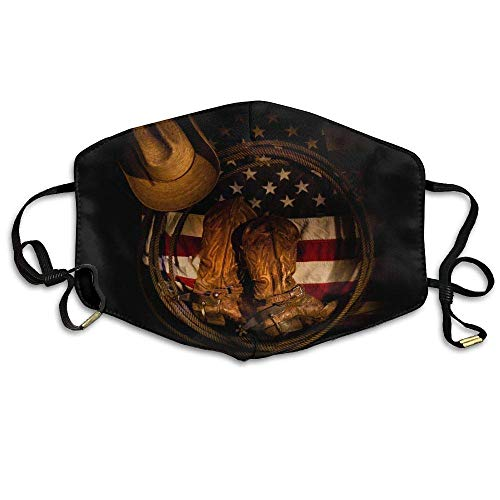 American Flag Cowboy Boot Hat Face Mouth Mask Unisex Polyester Comfy Anti Dust Masks