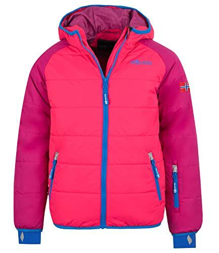 Trollkids Kinder Hafjell XT Wasserabweisende leichte Skijacke Winterjacke, Dunkelrosa/Hellrosa/Blau, Größe 140