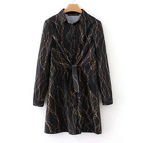 QAQBDBCKL Damenbekleidung KleidWild Slim Chain Print Umlegekragen Kleid Frau Sommer Sexy Street Slim Fit Temperament Kleidung -