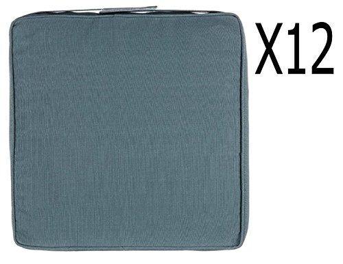 Lot de 12 galettes chaise en polyester coloris bleu orage - Dim : L 40 x P 40 x H 5 cm -PEGANE-