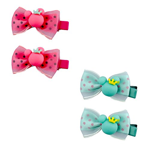 HAND niedlichen Mädchen Micky Maus Polka Dot Bow Alligator Haarspangen - 50 x 20 mm ca.-Pack 2 Paare (20 Mm Pack)