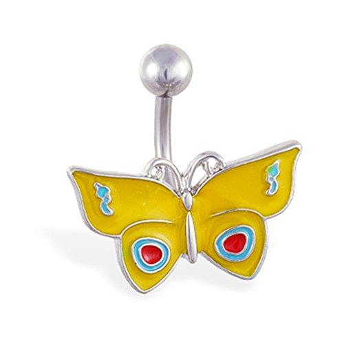 Gelb Butterfly Bauch Ring (Bauch Butterfly Ring)