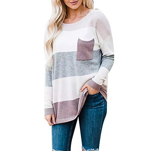 ESAILQ Damen Langarm-Streifen-Pullover übergroße gestrickte Tasche Pullover Top(Small,Kaffee)