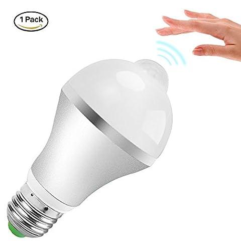 Minger 9W Ampoule Détecteur de Mouvement E27 LED PIR Blanc Froid à LED Éclairage Décoratif pour Couloir, Garage, Escalier, Jardin, Cour, 1 pièce [Classe énergétique
