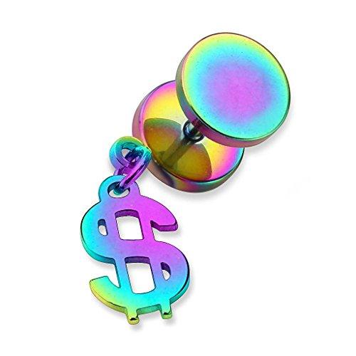 Ohrring Ohrstecker Fake Piercing Ohr Plug Flesh Tunnel Ohrpiercing Edelstahl Platte Stecker mit Dollar Zeichen Anhänger Rainbow ()