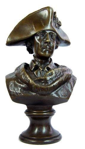 Kunst & Ambiente - Bronzefigur - Friedrich II. / der Große Fritz Figur - Bronzebüste mit Dreispitz - signiert - Fritz Büste aus Bronze - Fritz Skulptur
