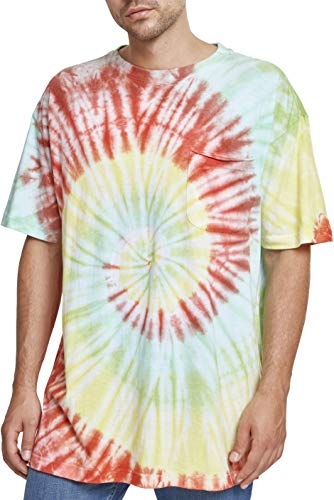Urban Classics Herren Spiral Tie Dye Pocket Tee T-Shirt, Mehrfarbig (Red/Green/Yellow 01455), S -