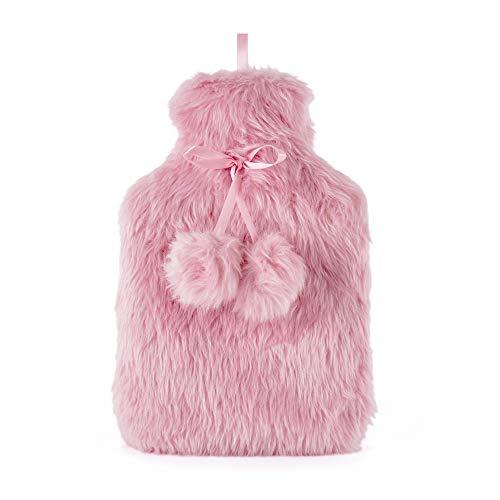 Luxuriöse Wärmflasche mit extra weichem Kunstfell-Plüsch-Bezug, hochwertiger Naturkautschuk, 2 Liter Fassungsvermögen, hilft Wärme und Komfort