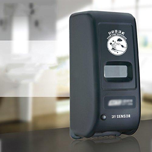 Cqq distributeur de savon Détecteur automatique de savon mural, capteur de mousse, bouteille de désinfectant pour les mains, mousse en plastique Salle de bain ( Couleur : Noir )