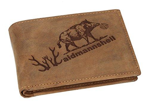 Greenbury Leder-Geldbeutel mit Waidmannsheil Motiv I Geldbörse mit Jagd Motiv I Herren-Portmonne für Jäger Die Geschenkidee für Jäger -