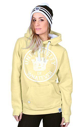 University of Whatever Damen Kapuzenpulli sportlich Pulli Kapuze W89 Varsity Gelb Small (American Sweater Leichter Retro)