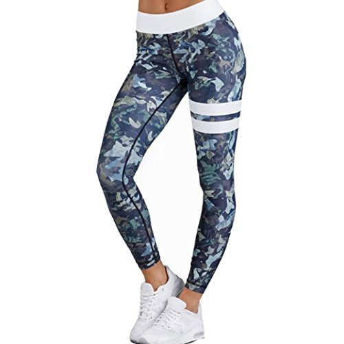 Damen Hose Internet Fitness Elastische Leggings Yoga Workout Hohe Taille Hosen (Grün, S)