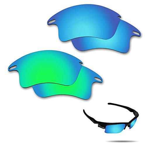 fiskr anti-saltwater Polarisierte Ersatz Gläser für Oakley Fast Jacket XL Sonnenbrille 2Paar verpackt, Ice Blue & Emerald Green