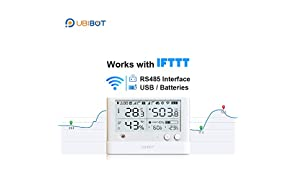 UbiBot Wireless WiFi Environment Monitor with Temperature Thermometer, Humidity Meter, Light Sensor, Data Logger, Digital Mobile APP, Email Alert WS1 PRO(2.4GHz WiFi only, no hub required, IFTTT)