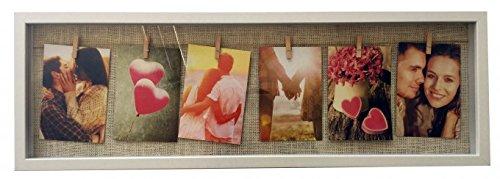 6 X 24-holz (Fotorahmen Bilderrahmen weiß für 6 Fotos Holz mit Glas, Seil und Klammern 72 x 24 cm)