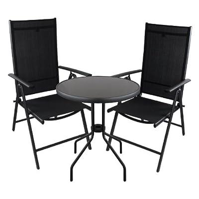 3tlg. Bistrogarnitur Bistro-Set Balkonmöbel Bistrotisch Hochlehner 7-Positionen Terrassenmöbel Sitzgarnitur Sitzgruppe Schwarz