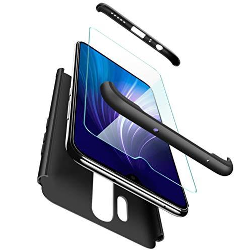 ivencase Coque pour Xiaomi Redmi Note 8 Pro + Verre Trempé, pour Xiaomi Redmi Note 8 Pro Coque Prime Hybride Robuste 3 en 1 Dur Anti-Rayures 360°PC Mat Couverture Housse Étui -Noir