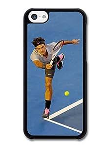 Roger Federer Playing Tennis Blue Court Tennis Player