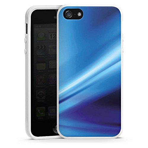 Apple iPhone 4 Housse Étui Silicone Coque Protection Déroulement Air Bleu Housse en silicone blanc