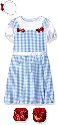 Smiffy's Children's Country Girl Costume, Dress and Headband, Colour: Blue, Size: M, 41102