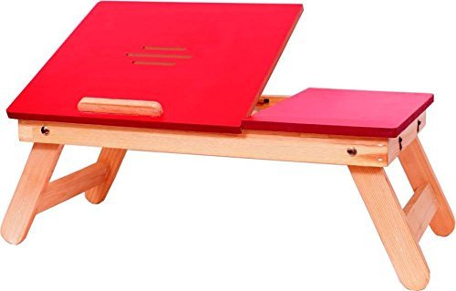 SR Product Foldable Wooden Bed Laptop Table And Study Table, Also Used As Laptop riser With Drawer(Red)  available at amazon for Rs.889