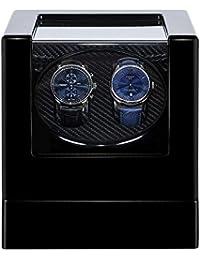 Kalawen Uhrenbeweger fur Automatikuhren 2 Uhren Watch Winder Box für alle Automatikuhren Mechanischen Uhren mit leisem Wechselstromadapter oder batteriebetrieben Schwarz
