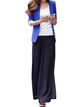 Gladiolus Mujer De Cintura Elástica Gasa Plisada Pantalones De Pierna Ancha Pantalon Palazzo Tallas Grandes Negro...