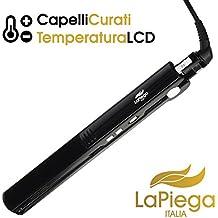 Plancha Pelo Profesional LaPiega | 2x Fundas Incluidas | 100% Ionica | Alta Calidad & Proteccion Profesional | Plancha de Pelo Titanio & Ceramica | Control de Temperatura (Negro)