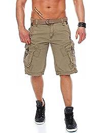 Tomwell Hombre Moda Agujeros Plisados Pantalones Cortos Bermuda Jogging Running Pantalón con Bolsillos Cómodo Cintura…