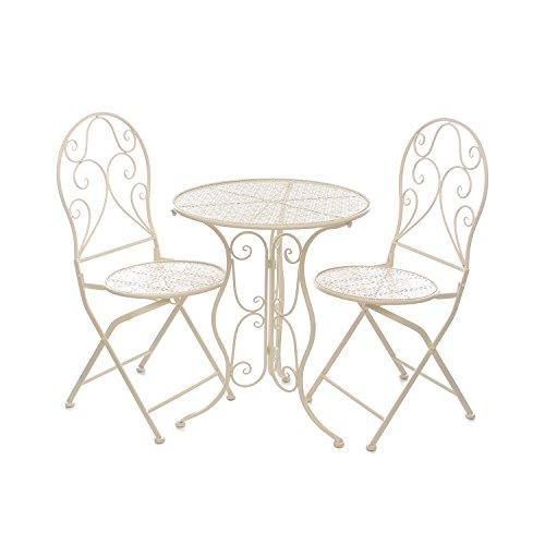 Set tavolo e 2 sedie da giardino, in metallo