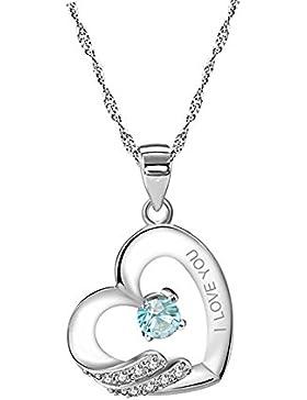 Forfamily Ltd Damen-Halskette mit Anhänger Sterlingsilber (925) Zirkonia kubisch Blau/Weiß Pavé-Fassung Gravur...