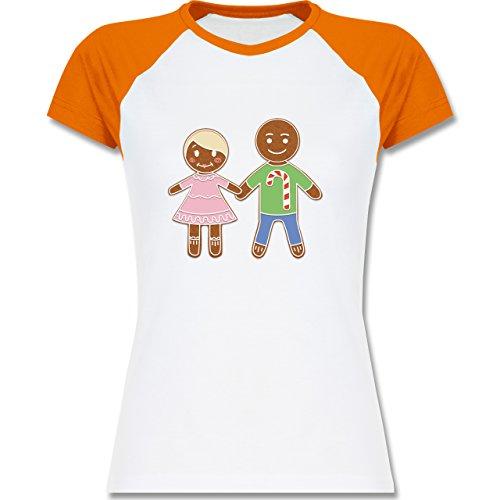 Weihnachten & Silvester - Lebkuchenmann und -frau - zweifarbiges Baseballshirt / Raglan T-Shirt für Damen Weiß/Orange