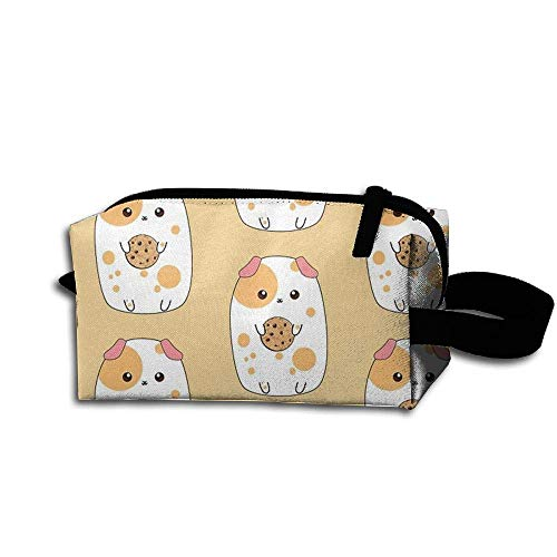 Graphic Travel Cosmetic Makeup Bag Guinea Pig with Cookie Cosmetic Pouch Pencil Case Accessory Toiletry Bag Storage Bag Pig Cookie