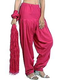 Jaipur Kurti Pure Cotton Patiala Salwar And Dupatta Set (Fuchsia Pink)