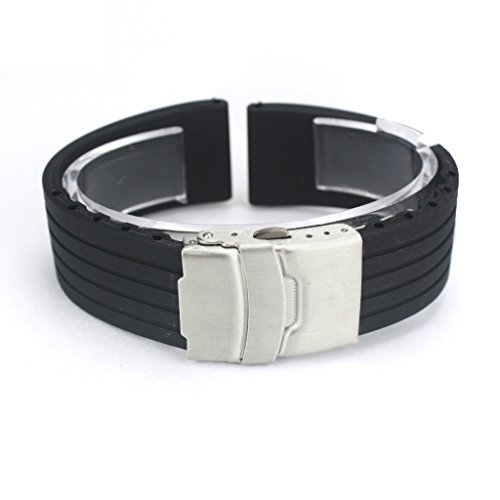 Japace® Flexibel Wasserfest Sport Uhrenarmband Uhrband Armband aus Silikon mit Faltschließe aus Edelstahl für Armbanduhr Damen Herren Wristband Rubber Bracelet Strap Band for Watch 20mm - Schwarz