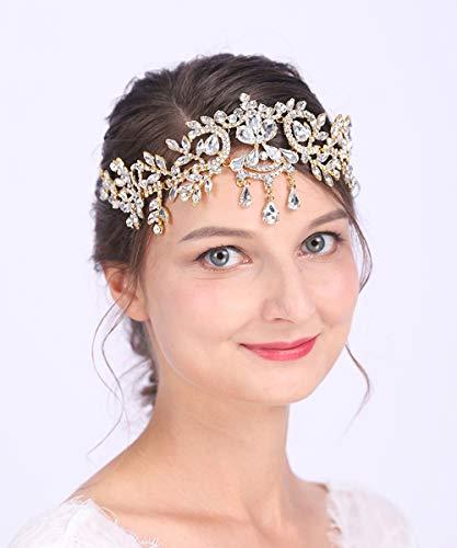Anglacesmade - tiara nuziale con strass a goccia e catenella per capelli per matrimoni, balli studenteschi, gioielli per donne e ragazze