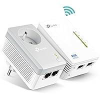 TP-LinkTL-WPA4225KIT Pack de 2CPL600 Mbpsavec2 PortsEthernet, 1 CPL Filaire avec prise intégrée + 1 CPL Wi-Fi, Kit de 2 - étendez votre connexion Internet dans chaque pièce de la maison