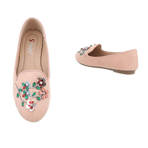 Slipper Damenschuhe Slipper Blockabsatz Slipper Ital-Design Halbschuhe Altrosa LT70