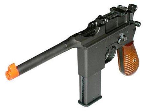 HFC Mauser Box Cannon Gas Softair Pistole Metall und Holz, Stil C96, max 0.5 Joules, 0.20g, einstellbar hop up, SKIRMISH PRO GUN + GRATIS 2000 BULLDOG BBS 0.20G (Mauser Pistole)