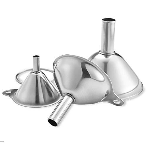 Acciaio inox mini imbuto, 3 pz imbuto in acciaio inox da cucina, taglie grandi a piccolo imbuti per il trasferimento di liquidi, spezie e polveri, resistenti e lavabili in lavastoviglie